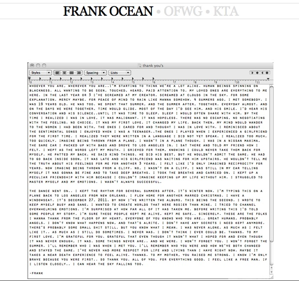 Frank Ocean Letter To His First Love